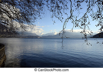 Snow landscape, Annecy lake in winter, Savoy, France