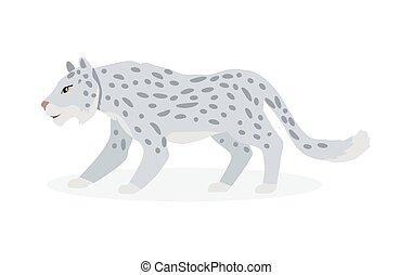 Snow Leopard Cartoon Flat Vector Illustration - Snow leopard...
