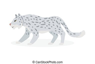 Snow Leopard Cartoon Flat Vector Illustration - Snow leopard...