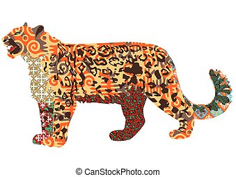 snow leopard with Kyrgyz patterns