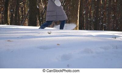 snow., liberté, courant, chariot, hiver, girl, marcher, vue,...