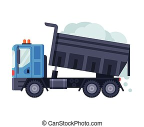 Snow Loaded Truck, Heavy Professional Cleaning Road Vehicle Vector Illustration