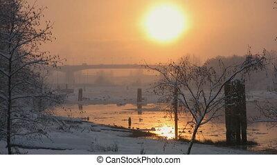 snow., lumière, rivière, coucher soleil, or