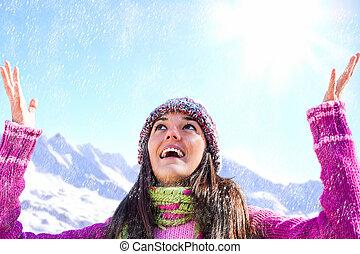 snow., m�dchen, beanie, spielende