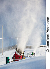 Snow-machine bursting artificial snow