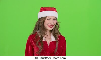 Snow maiden begins flirting . Green screen. Close up. Slow motion