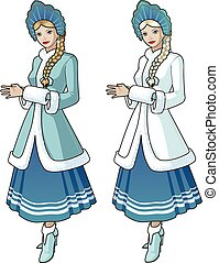 Snow Maiden character beautiful girl in blue and white traditional russian slavic costume with blond braid