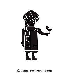 Snow maiden with a bird black vector concept icon. Snow maiden with a bird flat illustration, sign