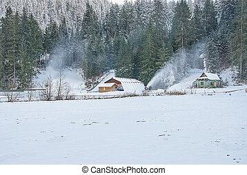 Snow making machine make snow at ski resort. Beautiful...