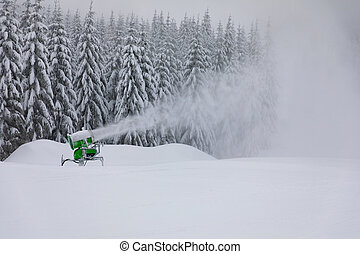 Snow making machine. Snow cannon in mountain, Czech Republic