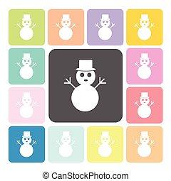 Snow man Icon color set vector illustration
