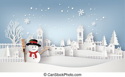 snow man in the village - Merry Christmas and Happy New...
