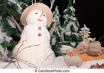 Snow man with a Christmas-tree. - Snow man with a...