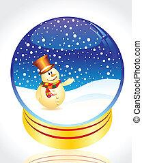 snow man with christmas globe