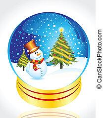 snow man with christmas tree globe