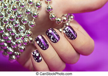 Snow manicure. - Snow manicure with the design of the white...