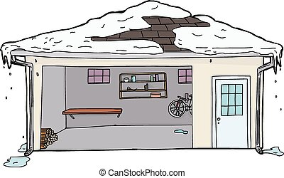 Snow Melting on Roof of Open Garage