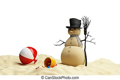 snow men beach