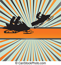 Snow mobile vector background - Snow mobile vector in front...