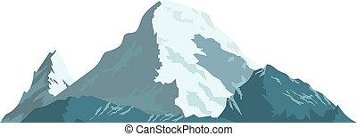 snow., montanha, gelo, coberto