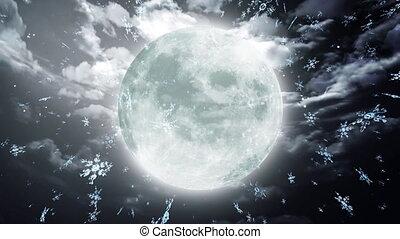 snow moon dark sky