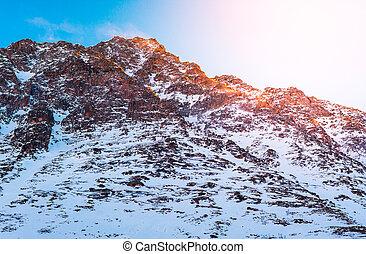 Snow mountain at sunrise