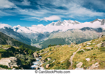 Beautiful view of snow mountains lanscape