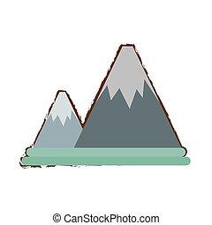 snow mountain climbing travel adventure color sketch