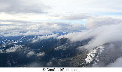 Snow mountain fog winter