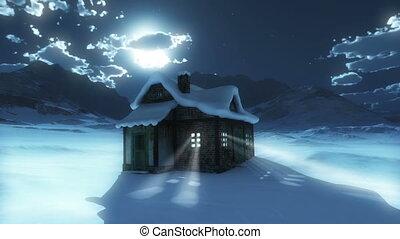 snow mountain moon house