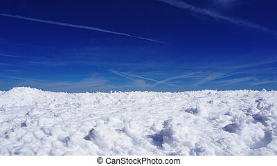 snow mountains field Titlis and blue sky background,...
