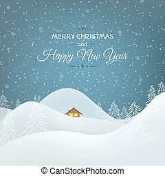 Snow mountains landscape Christmas card - Happy New Year...