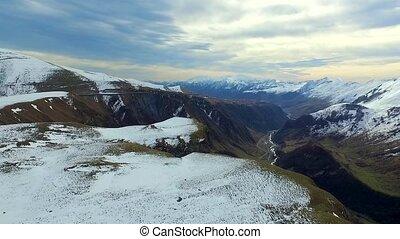 Snow mountains landscape