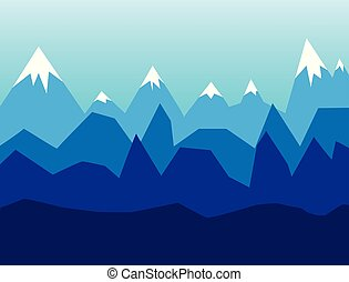 Snow mountains, Winter landscape in flat design vector illustration background.