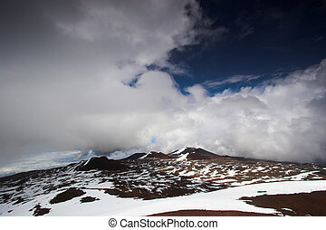 Snow on Big Island - Volcanic landscape and snow on the...