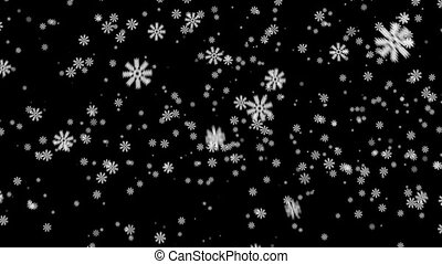 Snow on black background