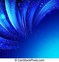 Snow on blue luminous rays.