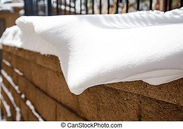 Snow on Brick Wall