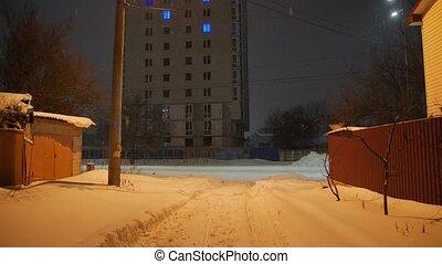 Snow On Night Street