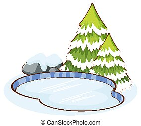 Snow on pine tree and pond