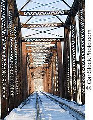 Snow on railroad tressle - Winter scene of snowy railroad...