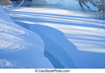 Snow on shore of river