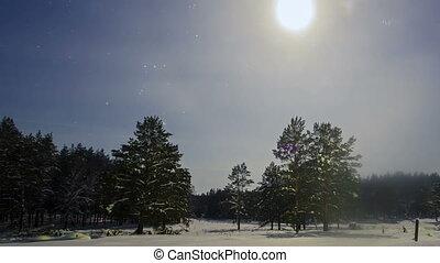 Snow on the field at night. Panarama. Time Lapse