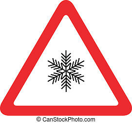 snow on the road traffic sign vector