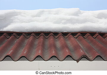 snow on the roof high. photo