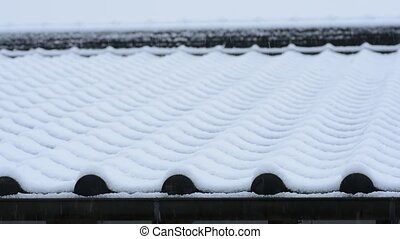Snow on the tiled roof - Snow piled up on the tiled roof in...