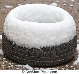 Snow on the wheel of car in winter