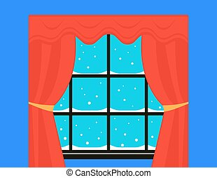 snow on winter window with red curtain
