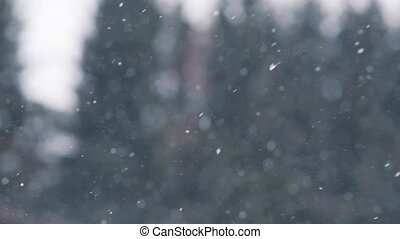 snow or snowfall outdoors in winter - winter, weather,...