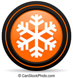 snow orange glossy web icon on white background
